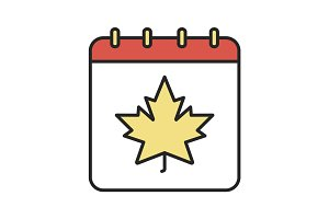Autumn calendar color icon