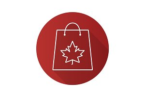 Autumn shopping flat linear long shadow icon