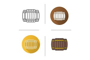Alcohol wooden barrels icon