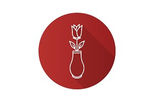 Rose in vase flat linear long shadow icon