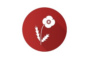 Poppy flower flat design long shadow glyph icon