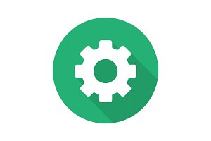 Cogwheel flat design long shadow glyph icon