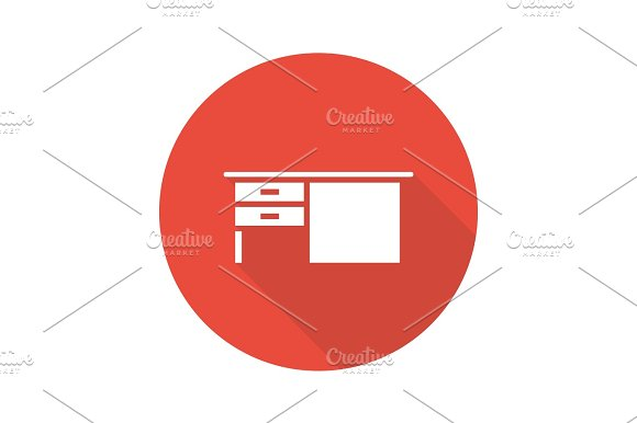 Writing Desk Flat Design Long Shadow Glyph Icon