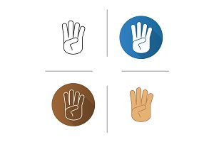 Four fingers hand gesture icon