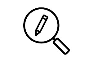 Magnifying glass with pencil linear icon