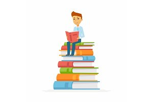 School Boy - character of happy kid sitting on books