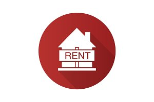 House for rent flat design long shadow glyph icon