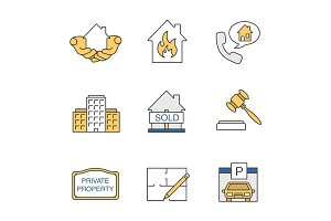 Real estate market color icons set