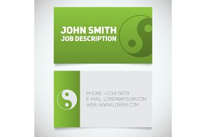 Business card print template with yin yang logo