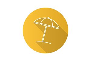 Beach umbrella flat linear long shadow icon