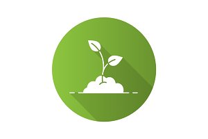 Growing sprout flat design long shadow glyph icon
