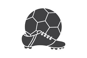 Soccer boot and ball glyph icon
