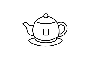 Tea brewing linear icon