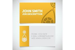 Business card print template with earring logo
