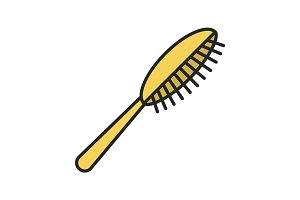 Hair brush color icon