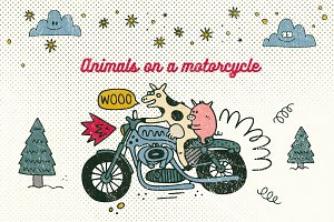 Animals on a motorcycle