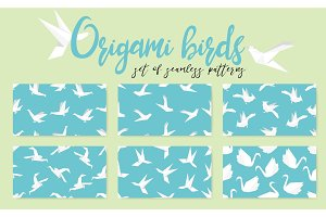 Set of origami bird seamless pattern. Collection of japanese vector ornament.
