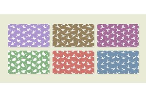 Set of six origami bird seamless patterns. Collection of japanese vector ornaments.