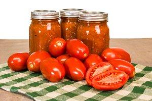 Mason jars of tomato sauce