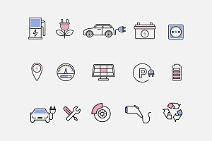 15 Electric Car Icons