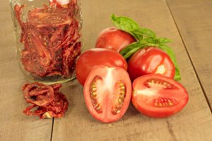 Jar of dried tomatoes