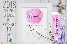 2018 Printable Watercolor Calendar