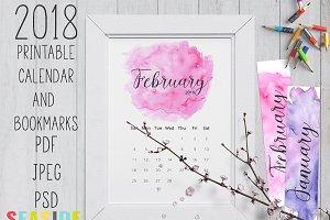 2018 Printable Watercolor Calendar