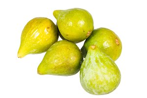 Green fresh figs isolated on white