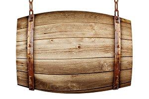 Barrel shaped wooden signboard on ru