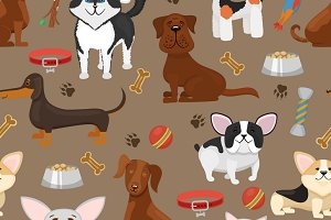 Cute funny dogs seamless pattern