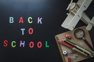 Top view Back to school.