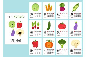 Cute 2018 calendar pages with smiling characters of vegetables and retro hand written thin font