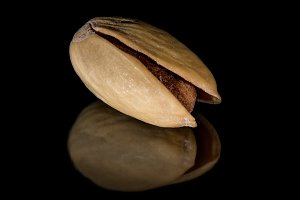 Dried pistachio with reflection