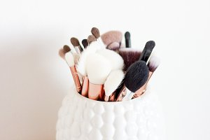 Makeup Brushes On Book