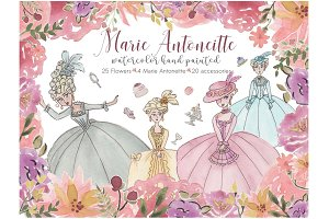 Watercolor Marie Antoinette Art Set!