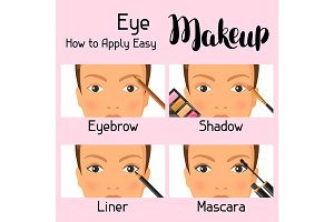 Eye makeup how to apply easy. Information banner for catalog or advertising