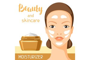 Moisturizing cream beauty and skin care. Background for catalog or advertising