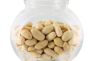 Raw peanuts in small glass tare