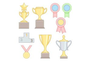 award trophies line icons