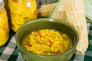 Bowl of fresh corn relish