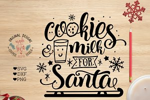 Cookies and Milk for Santa Cut File