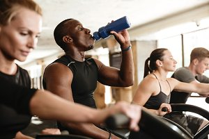 Multiethnic sports strong people make sport exercise