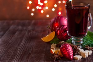 Christmas mulled wine with spices