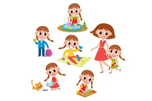 Set of little prescooler girl daily routines