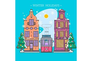 Snowy street. Urban winter landscape. Christmas card Happy Holidays banner in modern flat linear style