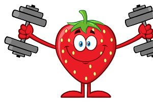 Strawberry Fruit With Dumbbells