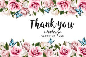 Greeting card with roses. Vector