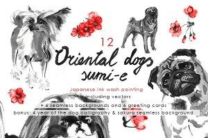 Oriental Dogs Sumi-e