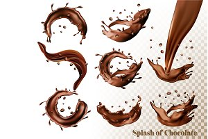 Set of Splash of chocolate. Vector