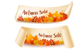 Two Autumn Sale Banners. Vector
